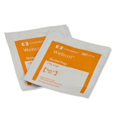 Kendall 5033 Webcol Sterile Alcohol Prep Pads, Large, 1-Ply, 200 per Box