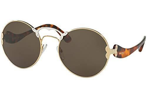 Prada PR55TS Sunglasses Pale Gold Silver w/Green Grey Lens ZVN4J1 SPR55T PR 55TS SPR ()