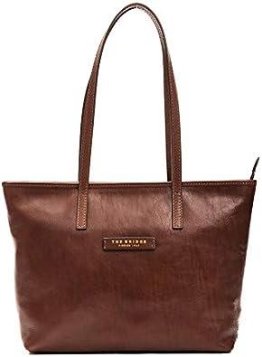 The Bridge Borsa Shopper pelle chiusura zip donna made in Italy 30x37x10 marrone 4411382L