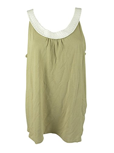Joseph A Womens Beige White Sleeveless Braided Neckline Tank Top L