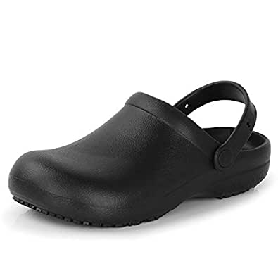 Men Women Slip Resistant Specialist Chef Clogs Mulitfunctional Restaurant Kitchen Garden Safety Work Medical Shoes Black Size: 36EU/6 B(M) US Women