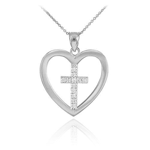 (925 Sterling Silver Studded Cross in Open Heart Pendant Necklace, 16