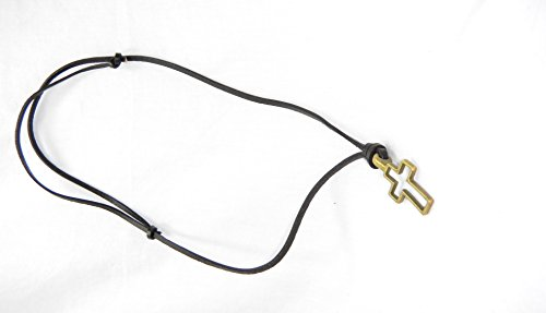 Vintage Leather Cross Pendant Necklace (Antique Bronze Plated)