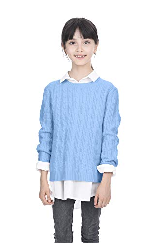 (State Cashmere Kids Cable Crew Neck Long Sleeve Wool Cashmere Sweater Baby Blue)