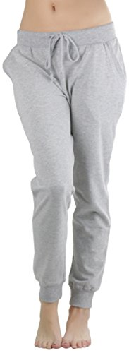 Gray Sweatpants - ToBeInStyle Women's Solid Print French Terry Jogger Pants -Heather Grey- Medium