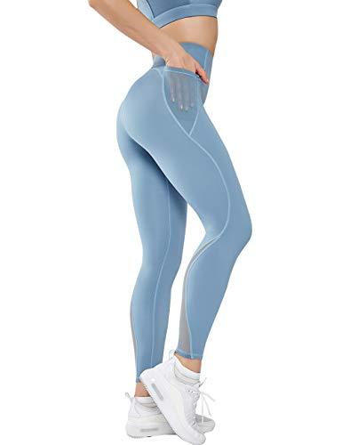 GLESTORE Legging de Sport Femmes Taille Haute Pantalon de Yoga Sexy Slim Fitness Collant avec Poches pour Jogging Gym…