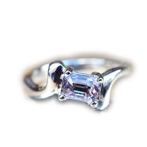 - Lovemom 17.37ct Natural Cushion Unheated Purple Spinel 925 Silver Ring 6US Myanmar #PU