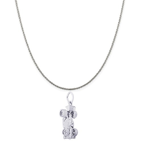 Rembrandt Charms Sterling Silver Indy Car Charm on a Sterling Silver Rope Chain Necklace, 18