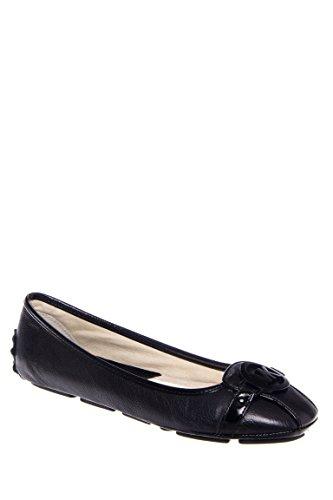 Michael Michael Kors Women's Fulton Ballet Flat,Black Leather,7 M - Black Mk Flats