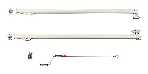 Carefree 811501WHT Pioneer Lite White with Matching White Casting Universal Manual Crank-Out RV Awning Arms Set (68