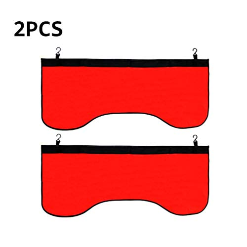 - 2 PCS Red Automotive Magnetic Leather Fender Protector Side Fender Cover Wing Cover Car Gripper Mechanic Work Mat Pad, 43.3inch x 17.7inch