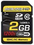 HD Memory Card Class 10 Digital Speed 2GB 1200X Professional High Speed Mach III 160MB//s Error Free SDHC