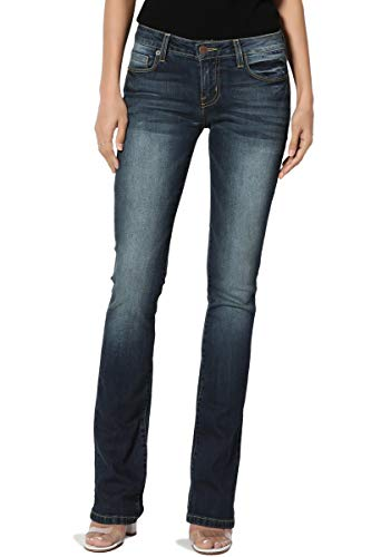 TheMogan Women's Washed Stretch Denim 32 Mid Rise Slim Boot Cut Jeans Dark 5 (Best Jeans For Hips)