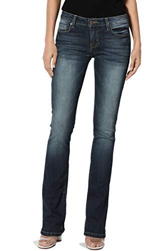TheMogan Women's Washed Stretch Denim 32 Mid Rise Slim Boot Cut Jeans Dark 11