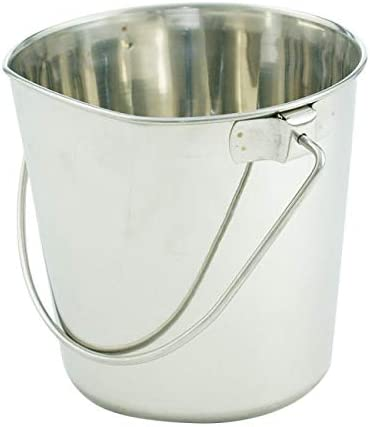 Indipets Heavy Duty Flat Sided Stainless Steel Pail