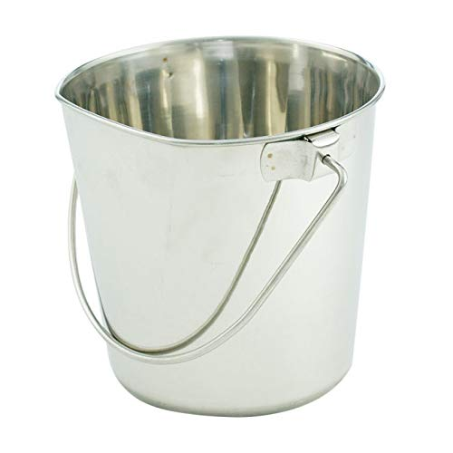 Indipets Flat-Sided Stainless Steel Pail 2QT