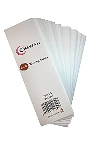 """Omwah Professional Facial and Body Waxing Non Woven Epilating Strips 100 Count Large 3"""" x 9"""" - Non Woven Waxing"""