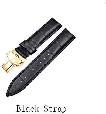 RTYW 新しいトップレイヤー牛革レザーストラップゴールドダブルプレスバタフライバックル竹パターンストラップの男性と女性の時計バンド+木製の箱 (Color : Dark brown+white line, Size : 18mm)