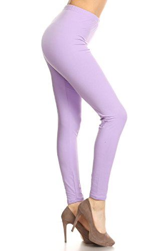 LDR128-Lilac Basic Solid Leggings, One -