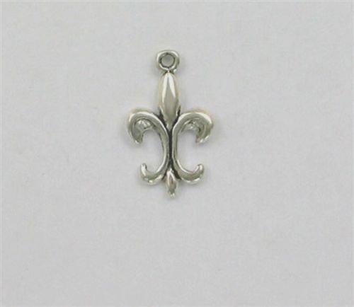 Barbell De Lis Fleur (Sterling Silver 19mm Fleur de Lis Charm - Jewelry Accessories Key Chain Bracelet Necklace Pendants)