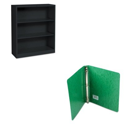 KITACC38616HONS42ABCP - Value Kit - Acco Recycled PRESSTEX Round Ring Binder (ACC38616) and The HON Company HON Brigade 3-Shelf Steel Bookcase, Black (HONS42ABCP)