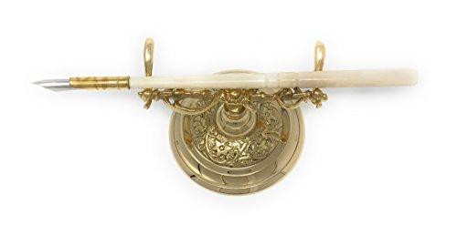 Madison Bay Company Ornate Vintage Style Brass Holder and Pen Set ()