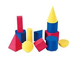 Hands-On Soft Geometric 12/Pk Shapes 2-3 3 Colors By Learning Resources