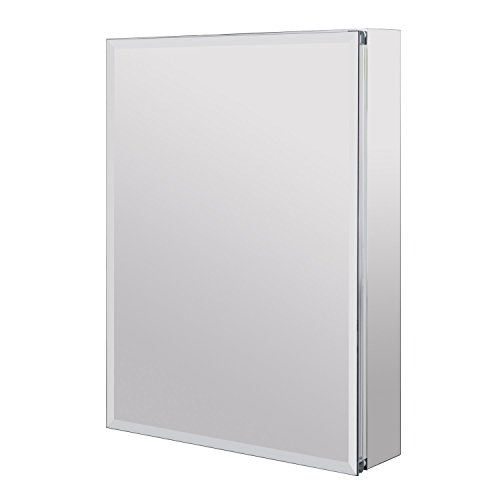 Utopia Alley Aluminum Medicine Cabinet with Glass Shelves, Single Door, 24'' L x 30'' H by Utopia Alley