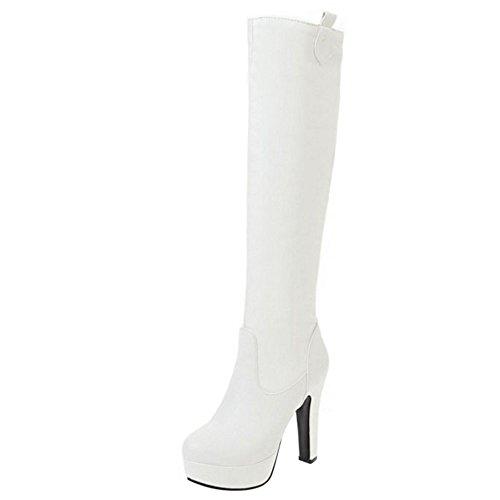 Stivali Scarponcini RAZAMAZA Elegante Alti Alto Tacco con White Blocco Donna drxxIAn
