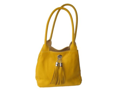 Giglio Soft Italian Leather and Suede Handmade Reversible Shoulder Bag Yellow and Tan