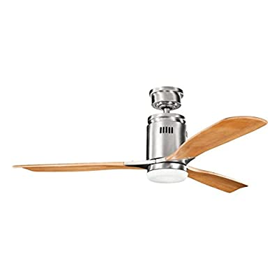 Kichler Lighting 300145BSS Ridley 52-Inch Ceiling Fan, Brushed Stainless Steel Finish with Medium Oak Stained Wood Blades and Integrated Light Kit