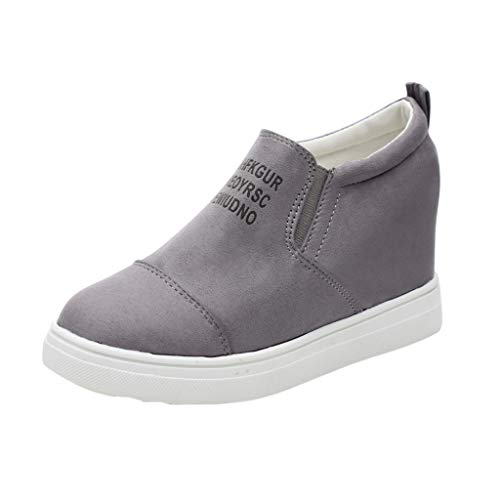 Women's Ladies Fashion Flock Ankle Letter Increasing Wedges Shoes Sneakers Gray