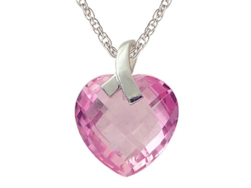 (Finejewelers 13x13mm Created Pink Sapphire Heart Shaped Pendant Necklace- 18 Inch w/Chain Sterling Silver)