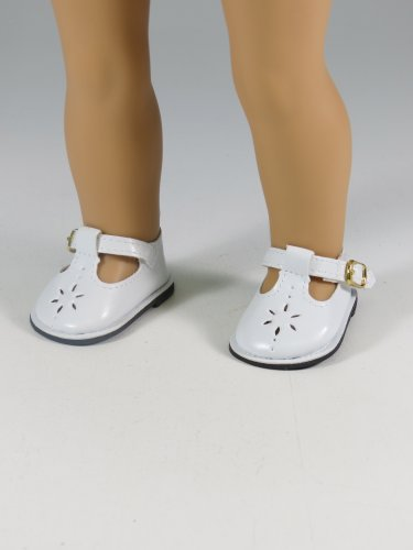 White Flower Mary Janes Shoes. -Doll clothing Accessory -Fits 18