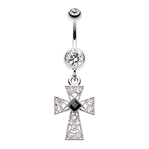 Gemmed Iron Cross Belly Button Ring - 14G (1.6mm) - Sold (Tongue Ring Iron Cross)