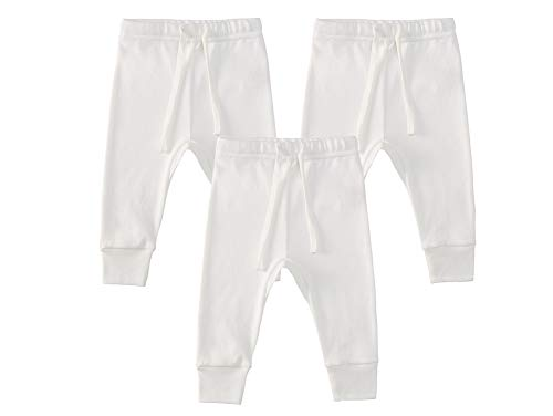 Owlivia Organic Cotton Baby Boy Girl 3-Pack Wiggle Pants Jogging Pants (3pack Off-Whitee, 3-6Months)