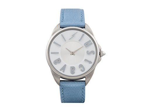 Just Cavalli Logo Women's JC1L008L0025 Quartz Blue Calfskin Leather Strap Watch