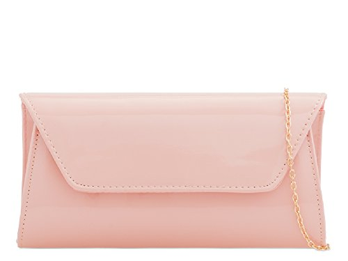 Flesh Evening Women's Clutch Handbag Bag Patent KL2250 Envelope Party Ladies Purse xXAwgvqIW
