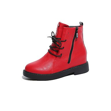 Boots Boots 5 Fall EU38 Boots Women'S Lace UK5 CN38 5 Booties Black Shoes Pu Toe Round For US7 RTRY Ankle Up Fashion Casual Red Low Bootie Heel Winter wqFY8ZxtS