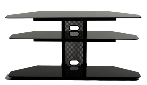 TransDeco Corner TV Stand with 2 AV Shelves for 32 to 55-Inch Plasma/LCD ()