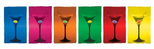 Martini Glasses Pop Art Poster 36x12