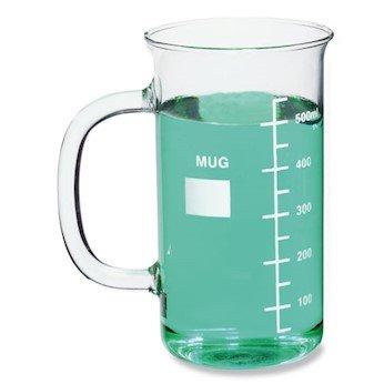Kimble Chase CPMUG600 Beaker Mug, Glass, 20 Ounce, Graduated, 1/pk Cole-Parmer