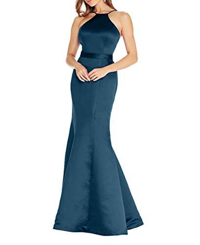Ballkleider La Blau Dunkel Einfach Meerjungfrau Braut Abschlussballkleider 2018 Lang Partykleider Abendkleider mia Elegant Satin Etuikleider w00r4x6qg