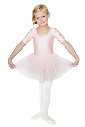 Stelle Girls' Cute Tutu Dance Dress Ballet Leotard Dress (S, Pink)