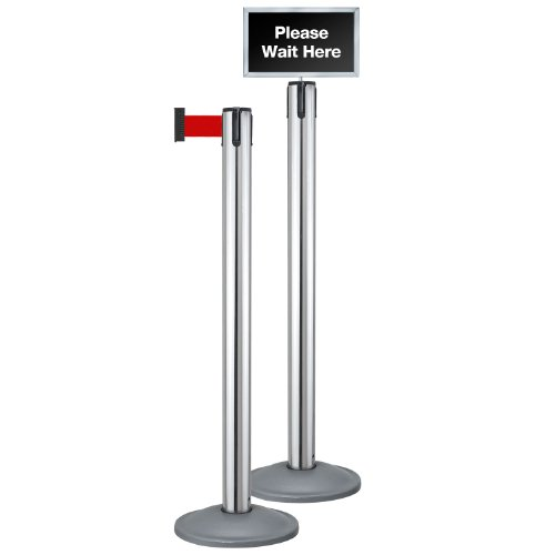 Beltrac Stanchion 2 Post Queue Line Kit, Chrome Post with 7 foot Red Belt and Sign