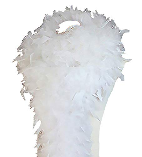 Cynthia's Feathers 80g Turkey Chandelle Feather Boas over 30 Color & Patterns (White) ()