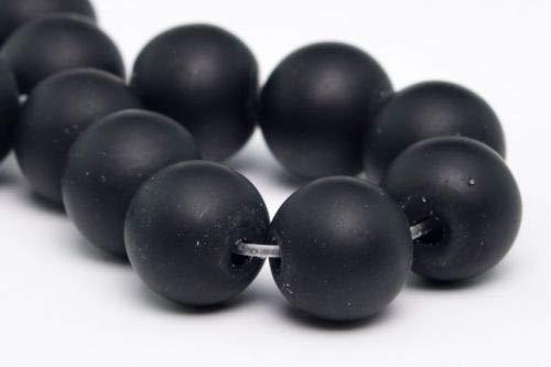 8mm Natural Matte Solid Black Jade Gemstone Beads Round Loose Beads 7.5