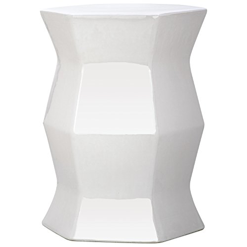 Safavieh Castle Gardens Collection Modern Hexagon White Glazed Ceramic Garden Stool - Garden White Stool