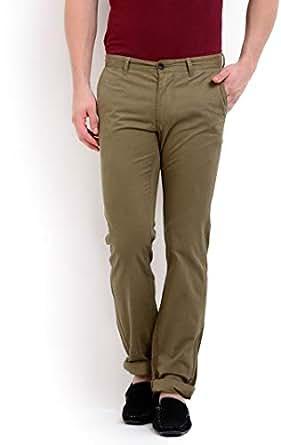 Terrain Brown Slim Fit Trousers Pant For Men