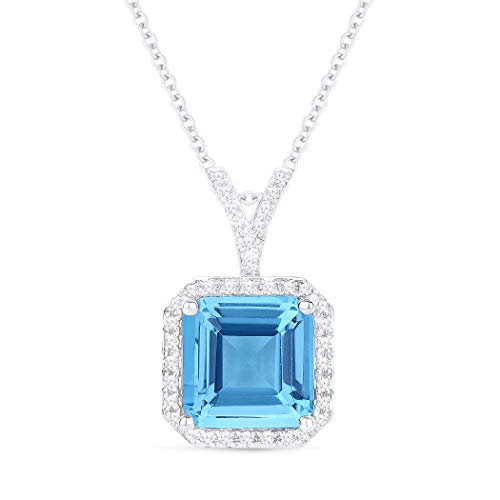 Topaz Aa Pendant Blue Diamond - 14K White Gold Cushion Cut Swiss Blue Topaz and Diamond Pendant